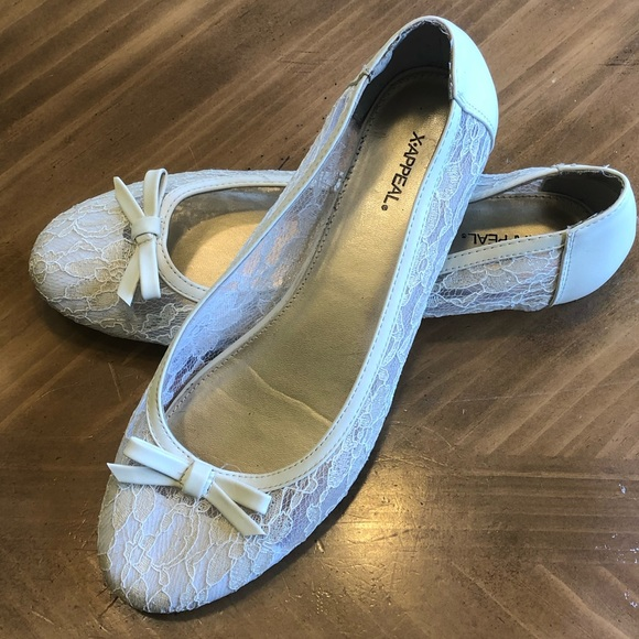 c6c300aa4 x-appeal Shoes | Cream Colored Lace Bow Ballet Flats | Poshmark